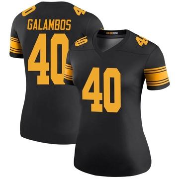 Women's Nike Pittsburgh Steelers Matt Galambos Black Color Rush Jersey - Legend