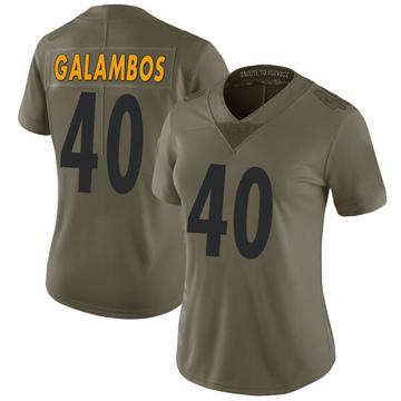 Women's Nike Pittsburgh Steelers Matt Galambos Green 2017 Salute to Service Jersey - Limited