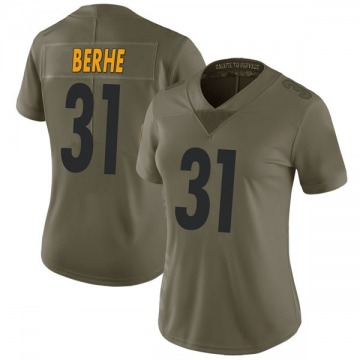 Women's Nike Pittsburgh Steelers Nat Berhe Green 2017 Salute to Service Jersey - Limited