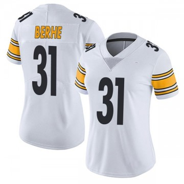 Women's Nike Pittsburgh Steelers Nat Berhe White Vapor Untouchable Jersey - Limited