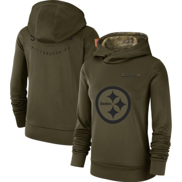 Women's Nike Pittsburgh Steelers Olive 2018 Salute to Service Team Logo Performance Pullover Hoodie -