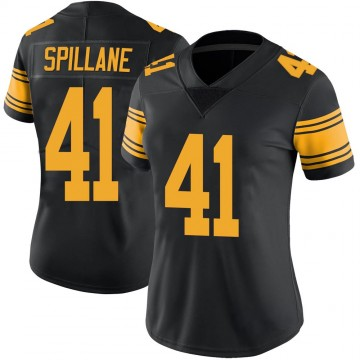 Women's Nike Pittsburgh Steelers Robert Spillane Black Color Rush Jersey - Limited