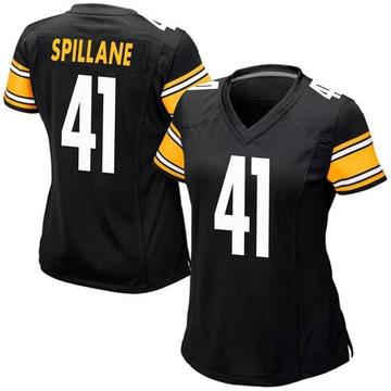 Women's Nike Pittsburgh Steelers Robert Spillane Black Team Color Jersey - Game