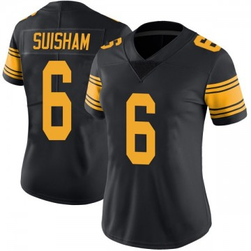 Women's Nike Pittsburgh Steelers Shaun Suisham Black Color Rush Jersey - Limited