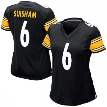 Women's Nike Pittsburgh Steelers Shaun Suisham Black Team Color Jersey - Game