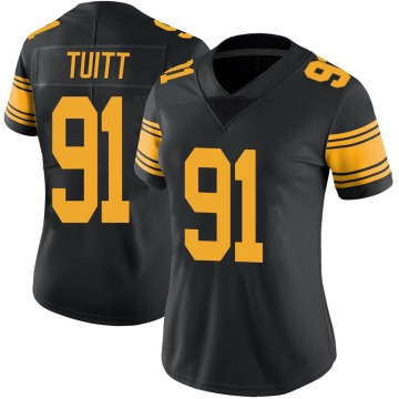 Women's Nike Pittsburgh Steelers Stephon Tuitt Black Color Rush Jersey - Limited