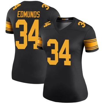 Women's Nike Pittsburgh Steelers Terrell Edmunds Black Color Rush Jersey - Legend