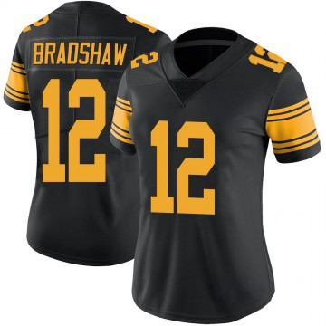 Women's Nike Pittsburgh Steelers Terry Bradshaw Black Color Rush Jersey - Limited