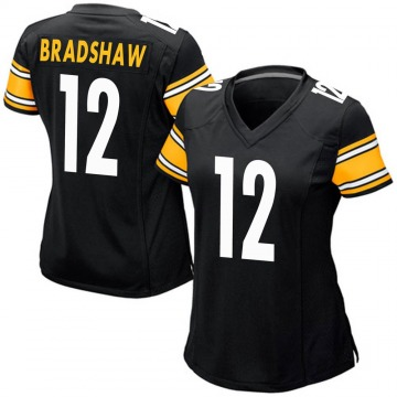 Women's Nike Pittsburgh Steelers Terry Bradshaw Black Team Color Jersey - Game