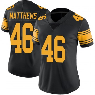Women's Nike Pittsburgh Steelers Tray Matthews Black Color Rush Jersey - Limited
