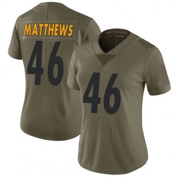 Women's Nike Pittsburgh Steelers Tray Matthews Green 2017 Salute to Service Jersey - Limited
