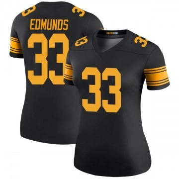 Women's Nike Pittsburgh Steelers Trey Edmunds Black Color Rush Jersey - Legend