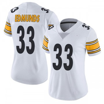 Women's Nike Pittsburgh Steelers Trey Edmunds White Vapor Untouchable Jersey - Limited