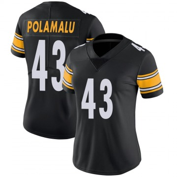 Women's Nike Pittsburgh Steelers Troy Polamalu Black 100th Vapor Jersey - Limited