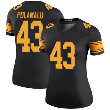 Women's Nike Pittsburgh Steelers Troy Polamalu Black Color Rush Jersey - Legend