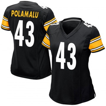 Women's Nike Pittsburgh Steelers Troy Polamalu Black Team Color Jersey - Game