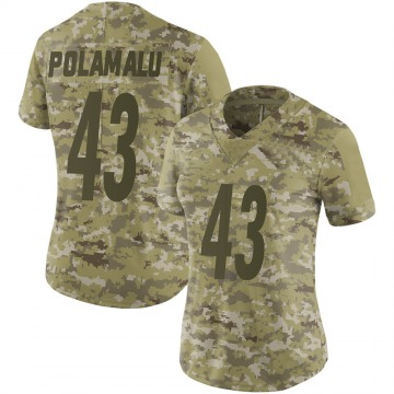 Women's Nike Pittsburgh Steelers Troy Polamalu Camo 2018 Salute to Service Jersey - Limited
