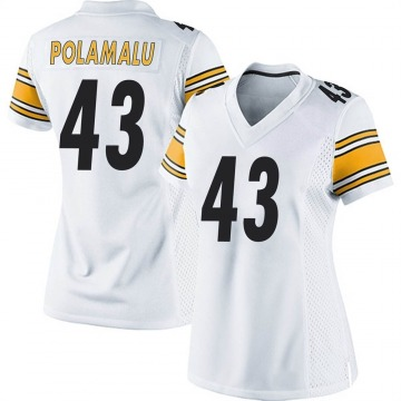 Women's Nike Pittsburgh Steelers Troy Polamalu White Jersey - Game