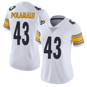 Women's Nike Pittsburgh Steelers Troy Polamalu White Vapor Untouchable Jersey - Limited