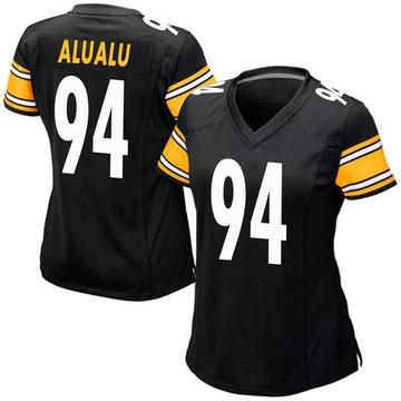 Women's Nike Pittsburgh Steelers Tyson Alualu Black Team Color Jersey - Game