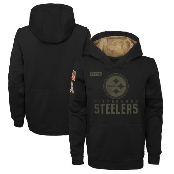 Youth Nike Pittsburgh Steelers Black 2020 Salute to Service Pullover Performance Hoodie -