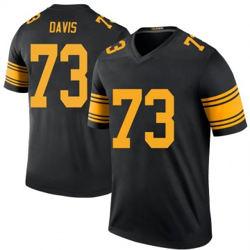 Youth Pittsburgh Steelers Carlos Davis Black Color Rush Jersey - Legend