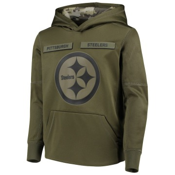 Youth Nike Pittsburgh Steelers Green 2018 Salute to Service Pullover Performance Hoodie -