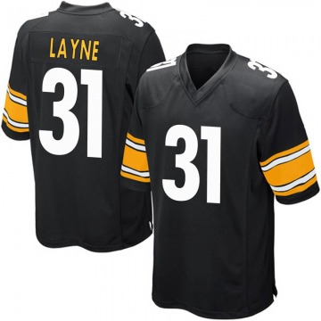 Youth Nike Pittsburgh Steelers Justin Layne Black Team Color Jersey - Game