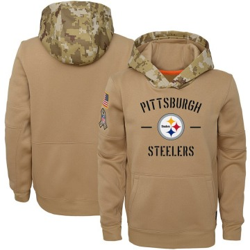 Youth Nike Pittsburgh Steelers Khaki 2019 Salute to Service Therma Pullover Hoodie -