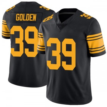 Youth Nike Pittsburgh Steelers Malik Golden Gold Color Rush Black Jersey - Limited