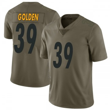 Youth Nike Pittsburgh Steelers Malik Golden Gold Green 2017 Salute to Service Jersey - Limited