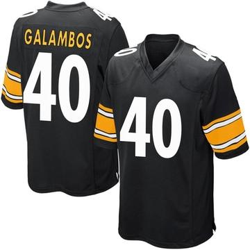 Youth Nike Pittsburgh Steelers Matt Galambos Black Team Color Jersey - Game