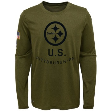 Youth Nike Pittsburgh Steelers Olive 2018 Salute to Service Performance Long Sleeve T-Shirt - Legend