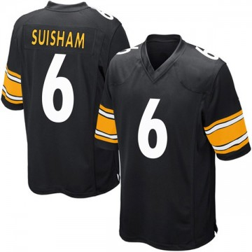 Youth Nike Pittsburgh Steelers Shaun Suisham Black Team Color Jersey - Game