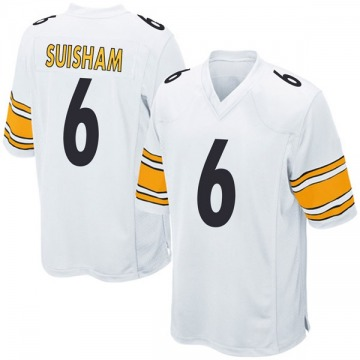 Youth Nike Pittsburgh Steelers Shaun Suisham White Jersey - Game