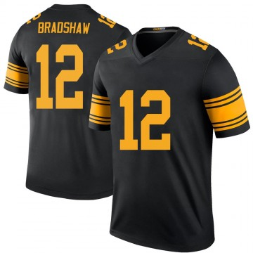 Youth Nike Pittsburgh Steelers Terry Bradshaw Black Color Rush Jersey - Legend