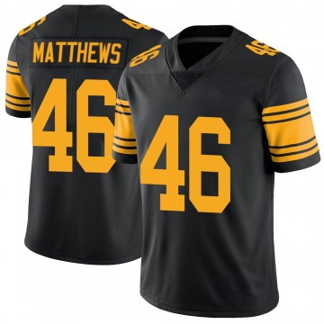 Youth Nike Pittsburgh Steelers Tray Matthews Black Color Rush Jersey - Limited