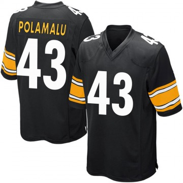 Youth Nike Pittsburgh Steelers Troy Polamalu Black Team Color Jersey - Game