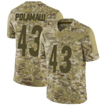 Youth Nike Pittsburgh Steelers Troy Polamalu Camo 2018 Salute to Service Jersey - Limited