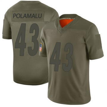 Youth Nike Pittsburgh Steelers Troy Polamalu Camo 2019 Salute to Service Jersey - Limited